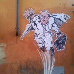 "Francisco é retratato por grafiteiro como ""super Papa"""