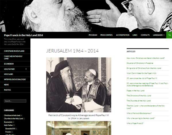 Lançado site para a visita do Papa Francisco à Terra Santa