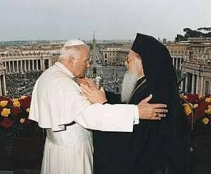 Resultado de imagem para Patriarca de Constantinopla, Bartolomé I, e o papa João Paulo II