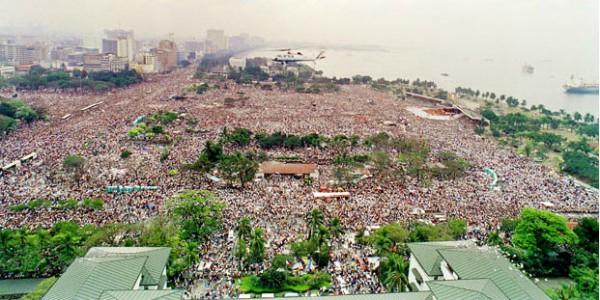 Vista aérea do Luneta Park, em Manila, na visita de João Paulo II, em 1995 / Foto: Arquivo