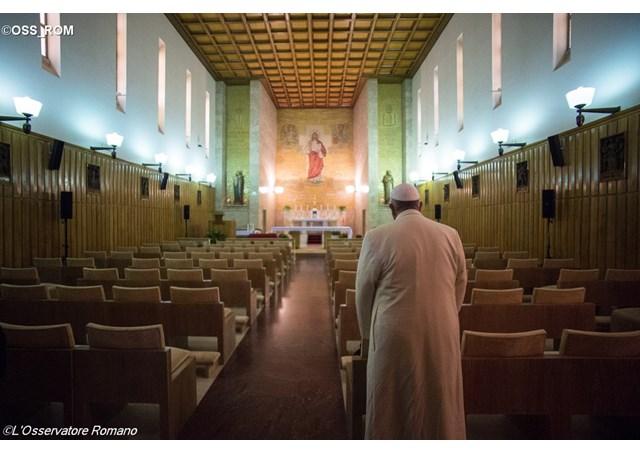 Papa Francisco na casa de retiros dos Paulinos
