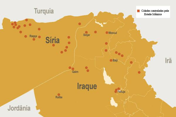 Representação geográfica das cidades da Síria e Iraque controladas pelo Estado Islâmico / Arte: Wesley Almeida