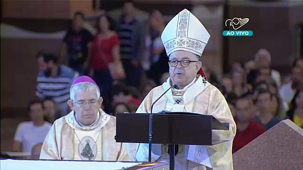 Cardeal Damasceno durante homilia nesta manhã no Santuário Nacional / Foto: Reprodução TV Canção Nova