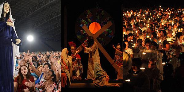 Procissão do encontro, encenação da Paixão de Cristo e Vigília Pascal são celebradas todos os anos na Semana Santa / Foto: Montagem - Arquivo CN