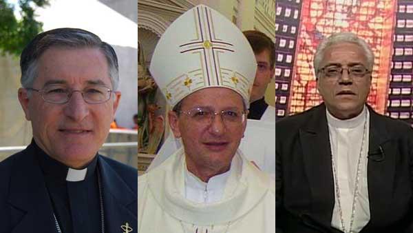 Da esquerda para a direita: Dom Tarcísio, Dom Agenor e Dom Edson / Foto: Montagem - Arquivo