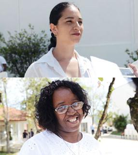 A enfermeira Márcia (acima) e a moradora / Foto: Wesley Almeida