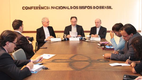 Presidência da CNBB durante a apresentação da nota sobre situação no Brasil / Foto: Assessoria de Imprensa CNBB