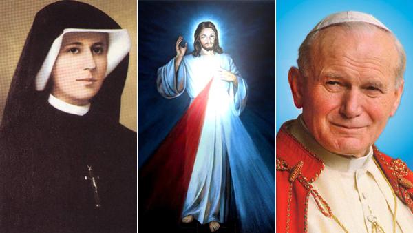 Ao centro, a imagem de Jesus Misericordioso; nas laterais, os apóstolos da misericórdia: Santa Faustina e São João Paulo II / Foto: Montagem-Arquivo