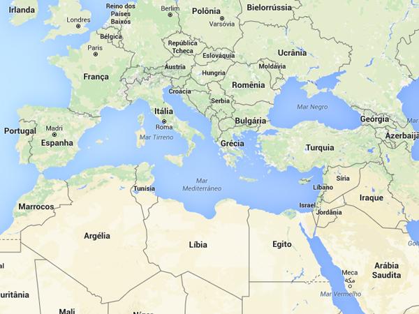 Países da Europa esrão entre os principais destinos de refugiados; Mar Mediterrâneo é uma das principais rotas / Foto: Reprodução Google