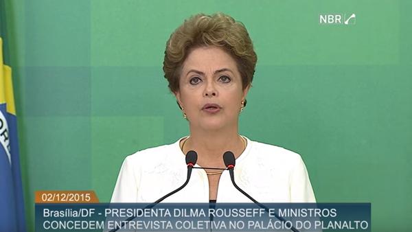 Presidente Dilma durante pronunciamento / Foto: Reprodução NBR