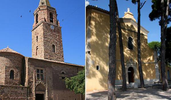 Catedral de Fréjus (esq.) e de Cotignac, ambas na França / Foto: Aline Casassola
