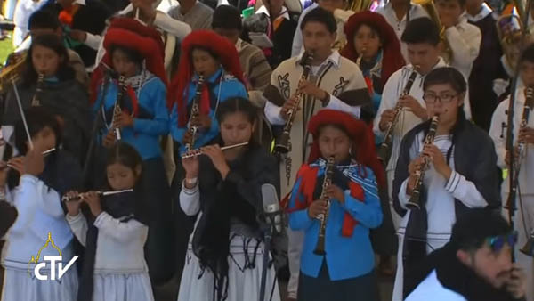 Indígenas tocam na Missa celebrada pelo Papa Francisco em Chiapas / Foto: Reprodução CTV
