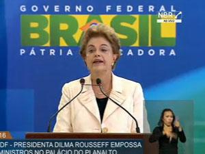 Dilma durante discurso na cerimônia de posse de Lula / Foto: Reprodução NBR