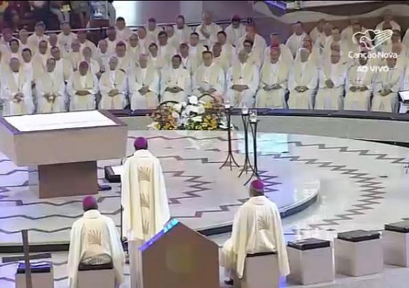 Bispos participam da Assembléia CNBB/Foto: Reprodução TVCN