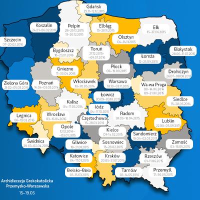 Mapa apresenta programação da peregrinação dos símbolos da JMJ no território polonês./ Arte: Site JMJ2016