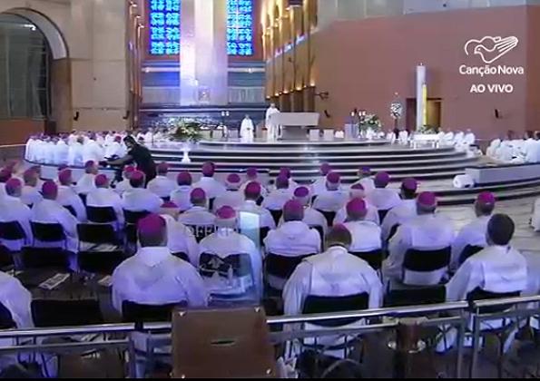 Bispos participam da Assembléia CNBB/Foto: Reprodução da TV