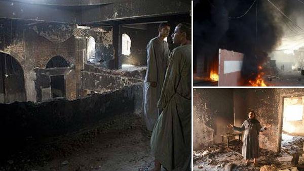Casas de cristãos coptas são incendiadas por multidão no Egito / Foto: Montagem sobre fotos - AIS