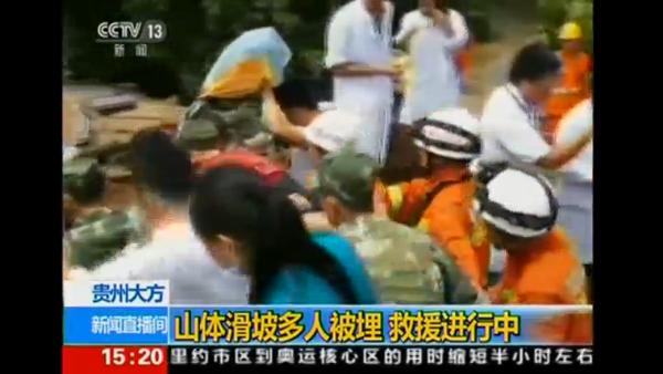 Equipes trabalham no resgate de vítimas do deslizamento de terra / Foto: Reprodução Reuters - CCTV