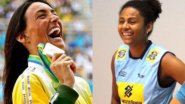 A nadadora Fabíola Molina e a jogadora de vôlei Natália Martins em competições pelo Brasil./ Foto: Arquivo Pessoal