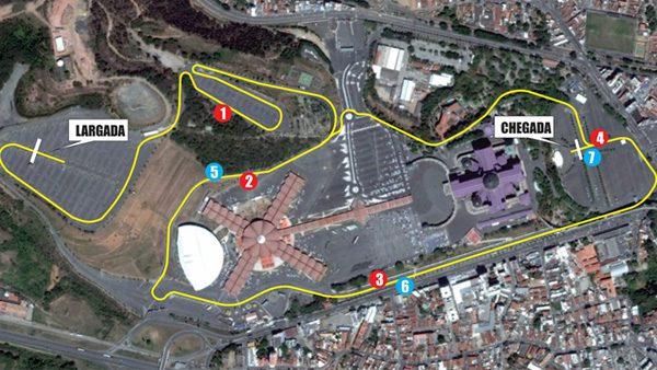 Percurso da corrida abrangerá toda a área externa do Santuário./ Foto: site oficial