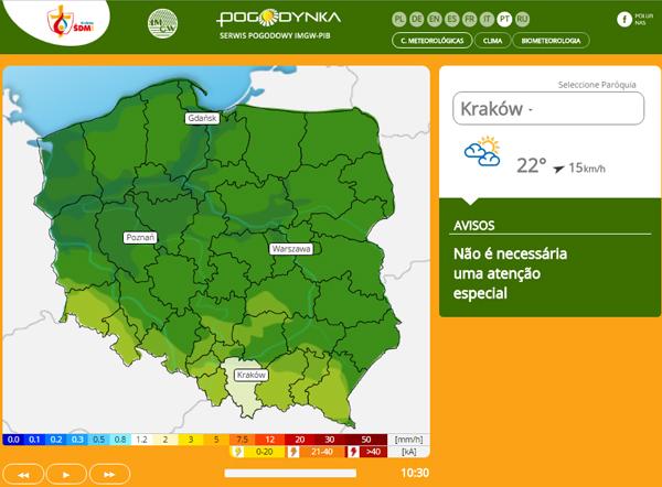 É possível pesquisar a previsão do tempo nas várias cidades na Polônia / Foto: Reprodução da página