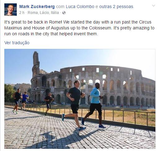 Mark Zuckerberg em Roma / Foto: Facebook pessoal