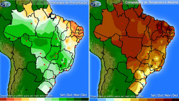 Climatologia de precipitação pluviométrica e temperaturas máximas / Fonte: CPTEC-INPE