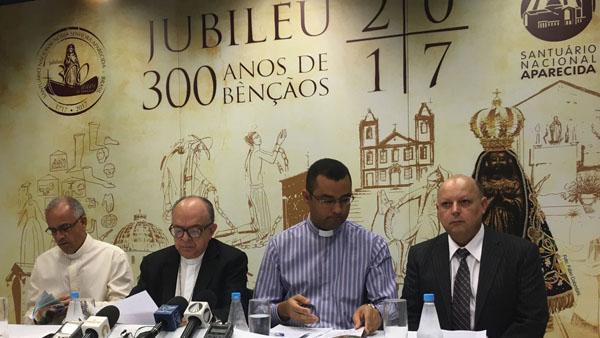 Da esquerda para a direita: Padre João Batista, Cerdal Damasceno, padre Daniel e Pedro Bianco / Foto: Jéssica Marçal