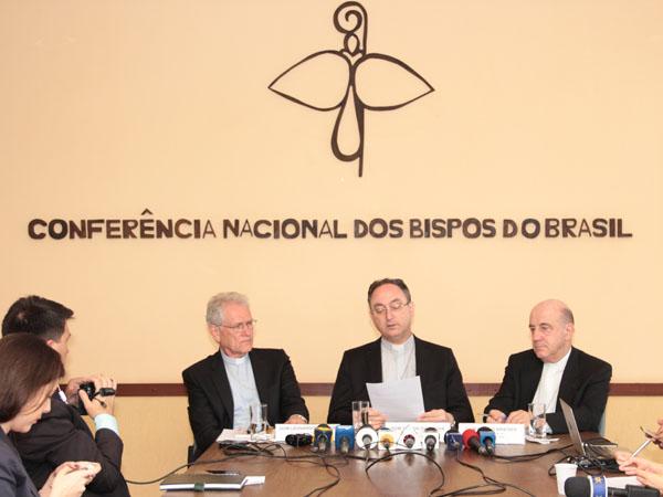 Presidência da CNBB reunida em coletiva de imprensa / Foto: CNBB
