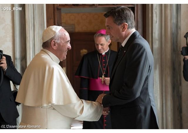 Papa reunido com o presidente da Eslovênia nesta segunda-feira / Foto: L'Osservatore Romano