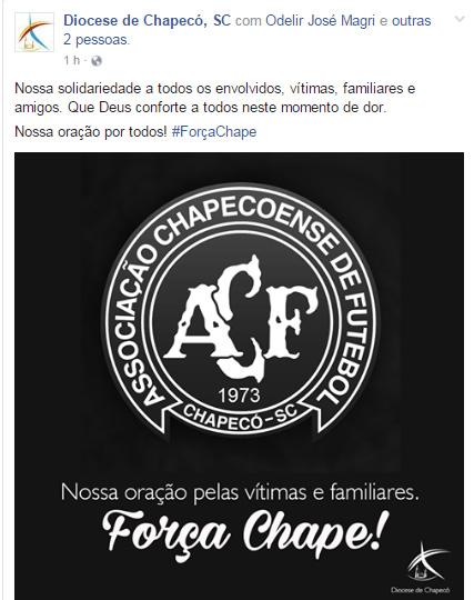 Postagem de solidariedade da diocese de Chapecó / Foto: Reprodução facebook