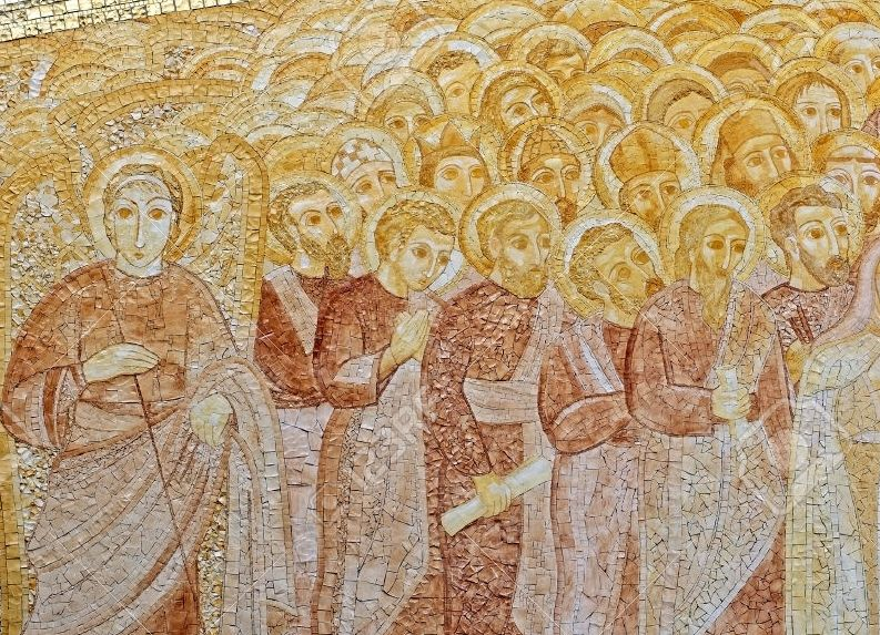 Golden Catholic mosaic panel