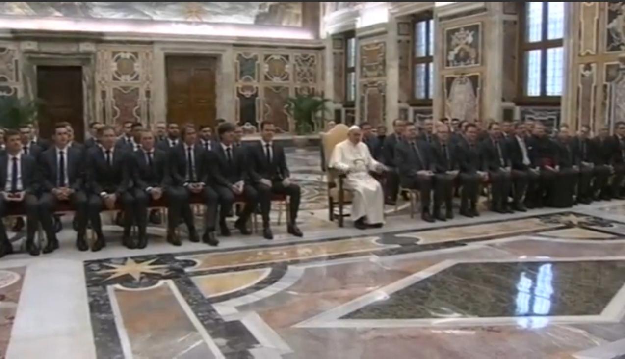 Papa recebe seleção de futebol alemã em audiência no Vaticano / Foto: Reprodução Reuters