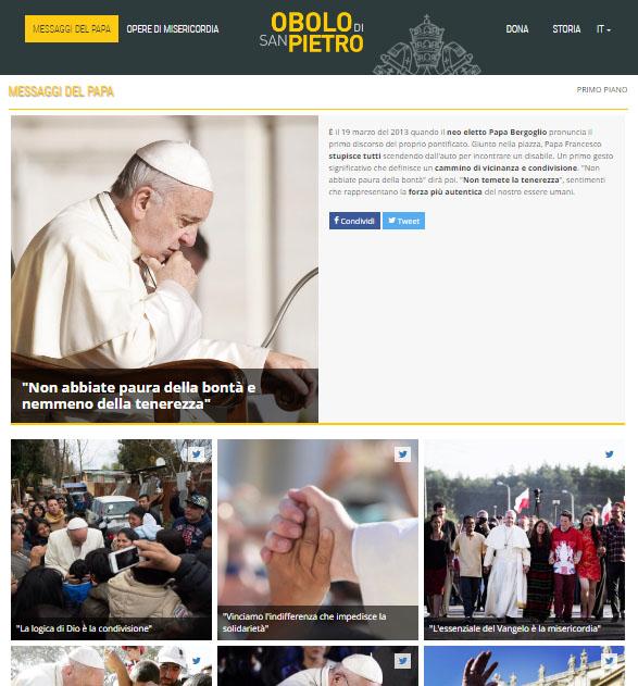 Site também traz mensagens do Papa / Foto: Reprodução