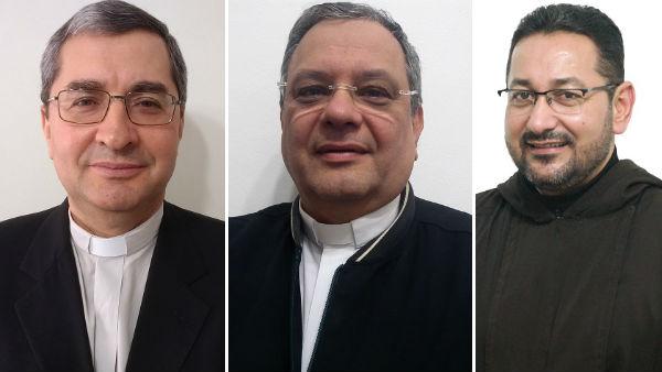 Padre Paulo, Monsenhor João Portella e Frei Rubival foram nomeados hoje como novos bispos para o Brasil / Foto: CNBB