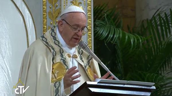 Papa Francisco durante homilia na festa Solenidade da Conversão de São Paulo / Foto: Reprodução CTV