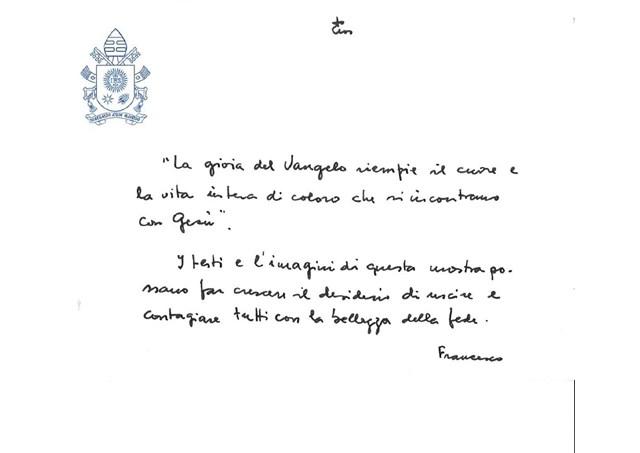 O bilhete escrito pelo Papa / Fonte: Rádio Vaticano