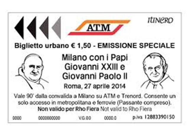 Bilhete especial de metrô emitido para a canonização dos dois Papas em 2014 / Fotot: Rádio Vaticano