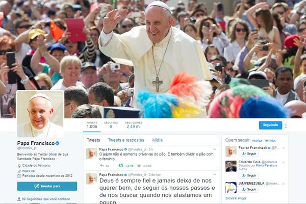 Conta do Papa Francisco no twitter em português - @Pontifex_pt / Foto: Reprodução twitter