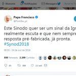 Sínodo quer ser sinal da Igreja que escuta, diz Papa no Twitter