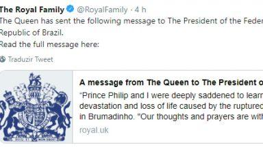Família Real britânica envia mensagem de apoio a Brumadinho