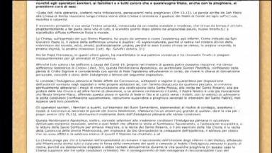 Vaticano anuncia indulgência plenária a atingidos pelo Coronavírus