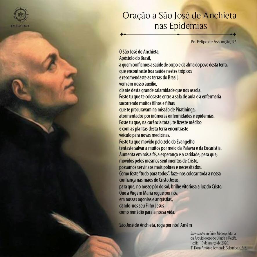 oracao sao jose anchieta epidemias FotoDivulgacao Igreja celebra São José de Anchieta, apóstolo e copadroeiro do Brasil