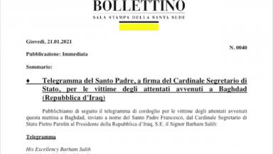 Papa afirma que está entristecido com duplo ataque suicida em Bagdá