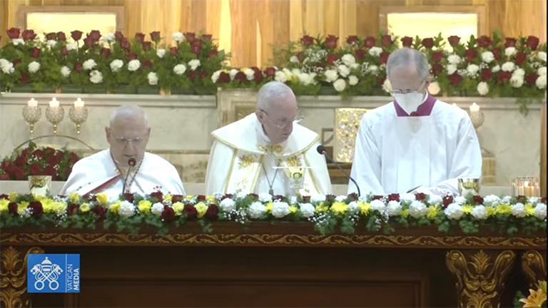 Papa Francisco durante a celebração eucarística em Bagdá, neste sábado, 6