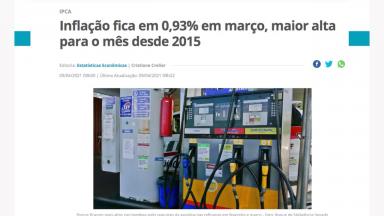 IBGE divulga IPCA com aumento de 0,93% na inflação de março