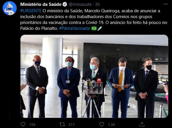 Aviso Ministerio Saude vacina Bancários e funcionários dos Correios entram como prioridades na vacinação