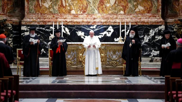 papa oracao ecumenica libano REUTERS Guglielmo Mangiapane Pool Que o Líbano volte a irradiar a luz da paz, pede Papa