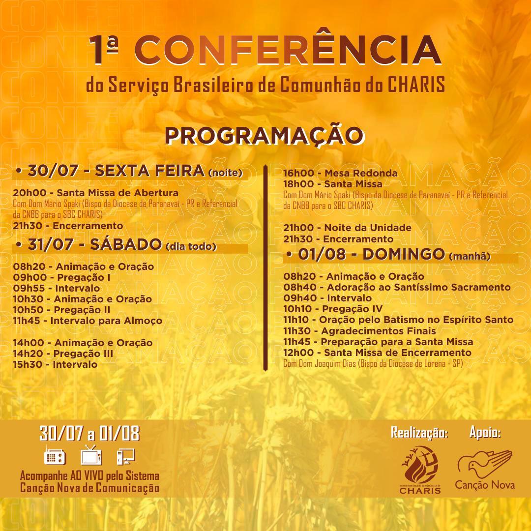 programacao conferencia SBCC Serviço Brasileiro de Comunhão do CHARIS realiza I Conferência