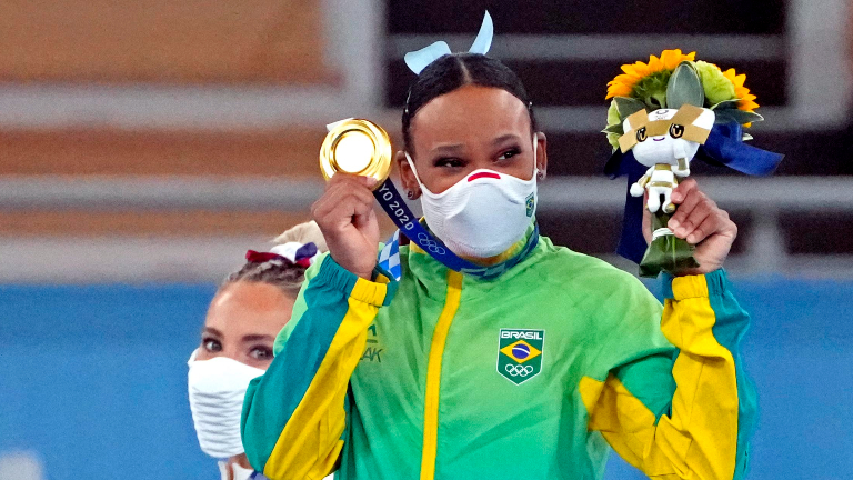 rebeca andrade ginasta ouro jogos olimpicos USA TODAY Sports via Reuters Brasil conquista segunda medalha de ouro nos Jogos Olímpicos